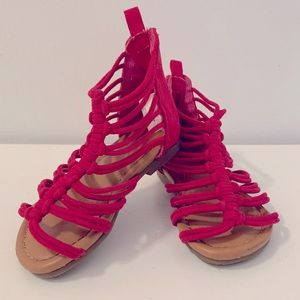 Hot Pink JF Toddler Girls Strappy Summer Sandals Size 6